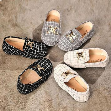 Designer Plaid Kids Casual Shoes
