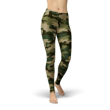 Green Army Camouflage Leggings