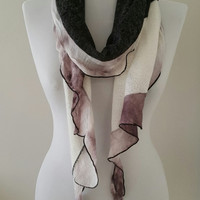 Gift For Her, Gift Ideas, Gray Beige Victorian Ruffle Scarf, Womens Gifts, Womens Scarves, Gift For Wife