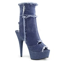 """Delight 1030 Stretch Denim 6"""" High Heel Ankle Boots"""