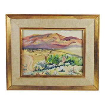 Mountain Ranch Landscape Vintage Watercolor Painting