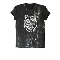 Tiger shirt bengal tiger t shirt tie dye tee bleached shirt grunge style tumblr animal shirts gift clothes size XS S M L