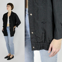 80s oversized jacket windbreaker jacket solid black jacket OS M