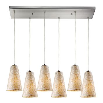 Capri 6 Light Pendant Satin Nickel Hand Blown Glass
