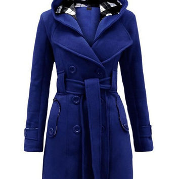 Long Sleeve Belted Fleece Hooded Fall Coat