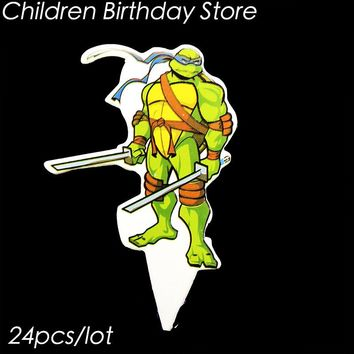 24pcs/lot Ninja Turtles theme cake topper Ninja Turtles theme birthday party decorations Ninja Turtles cupcake decorations