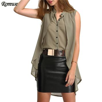 ROMWE Summer V Neck Layered High Low Blouses Ladies New Arrival Tops Sleeveless Plain Green Casual Chiffon Blouse