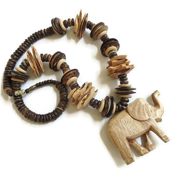 m carved listing poshmark safari wooden animal african necklace