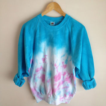 Dip Dye Messy Tie Dye Jumper Blue and Pink