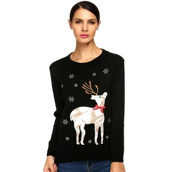 Ladies Women Autumn/ Winter Casual O-Neck Long Sleeve Animal Applique Sweater