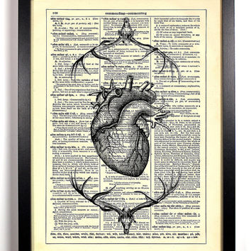 Repurposed Book Upcycled Dictionary Art Vintage Book Print Recycled Vintage Dictionary Page Anatomical Heart Deer Skeleton Buy 2 Get 1 FREE