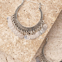Coin-Fringed Hoop Earrings