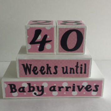 Baby Countdown Wood Blocks/Weeks Until Baby Arrives -Pink and White