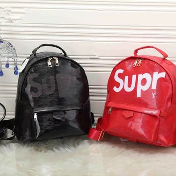 """Louis Vutitton×Supreme"" Women Casual Fashion Logo Letter Backpack Double Shoulder Bag"