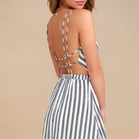 Oceanside Adventure White Striped Backless Skater Dress