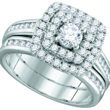 14kt White Gold Womens Round Diamond Solitaire Double Halo Bridal Wedding Engagement Ring Band Set 7/8 Cttw