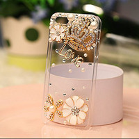 iPhone 6 Plus Case, iphone 6s Plus Case Hundromi 3d Handmade Clear Bling Gold Crystal Rhinestone