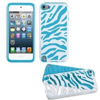 Fusion Dual Layer Hybrid White Zebra Skin/Tropical Teal Protector Case for Apple iPod Touch 5