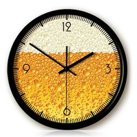 YCC Creative Beer Foam Wall Clock Color Yellow