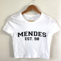 Mendes Est. 98 White Graphic Crop Top