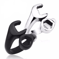 Size 9 & 10  Men's Punk Titanium Steel Vintage Ring Black & White Wrench Design