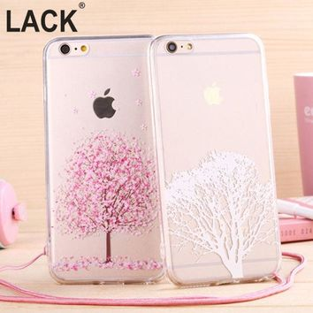 LMFUS4 Newest fashion Japan sweet cherry blossom Phone Case soft TPU for Apple iphone 6 Case 4.7'' Transparent back cover with lanyard