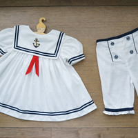 Vintage Baby Clothes, Baby Girl Unique Sailor Dress with Embroidered Anchor Applique Sailor Collar and Matching Pants, 9-12 Months