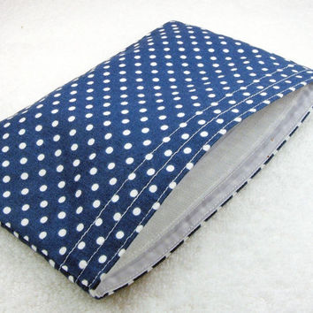 Reusable Snack Bag - Navy blue white dots party favor adult kid children food storage lunch bag ecological - Sac collation - Ready to ship