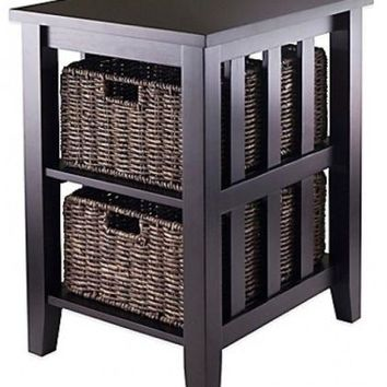 End Tables Baskets Storage Table Wood 2 Tier Office Accent Room Home Brown Decor