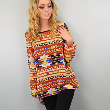 SZ MEDIUM Desert Warriors Red Tribal Blouse