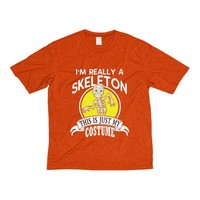 Skeleton Halloween Costume T-shirt Adults Heather DriFit Tee 100 Polyester Skeleton Costume I'm Really A Skeleton This Is Just My Costume