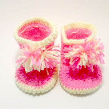 Pink Baby Booties, Crochet Toddler Booties , Crochet Shoes , Toddler Slippers , Baby Gifts , Pink Slipper , Gifts for Childern