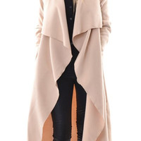 Apricot Turn-Down Collar Long Sleeves Coat