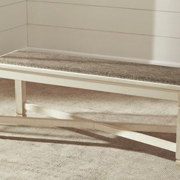 Ashley Furniture D647-00 Bolanburg antique white finish wood dining bedroom entry bench