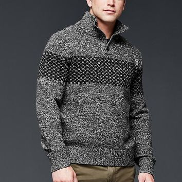 Gap Men Lambswool Fair Isle Mockneck Sweater