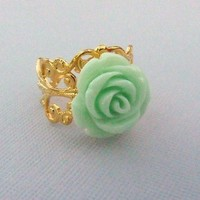 Vintage Inspired Rose Ring In Mint Green by pinkingedgedesigns