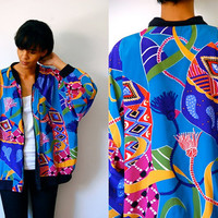 Vtg Colorful Tassels Mixed Print Blue Yellow Purple Pink Zip Up Bomber Jacket