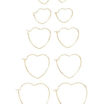 Heart Hoop Earring Set