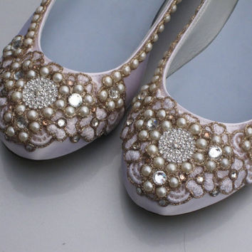 Champagne Bridal Ballet Flats Wedding Shoes Any by BeholdenBridal