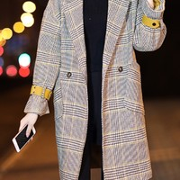 Yellow Plaid Lapel Wool Blend Coat