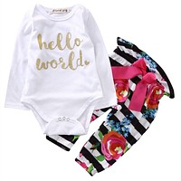 2016 kids girls clothing sets  2pcs Set Newborn Baby Girl Boy Tops Romper +Striped Floral Long Pants Outfits Clothes 0-18M CA