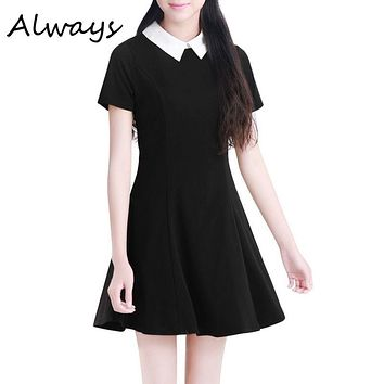 Summer Elegant Women Vestidos Peter Pan Collar Dresses Party Lady Short Sleeve Office Dress School Sundress