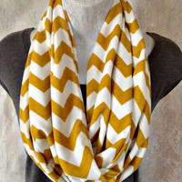 Chevron Infinity Scarf in Mustard and Cream Extra long