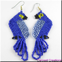 Blue Macaw Parrot Seed Bead Earrings Dangle Beadwork