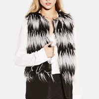 Women's Vince Camuto Stripe Faux Fur & Knit Vest