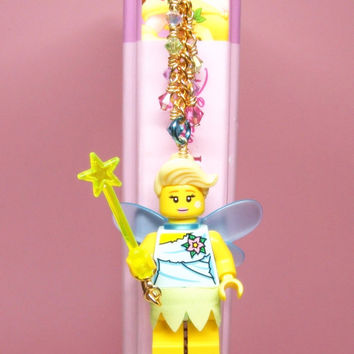 Golden Fairy Bookmark made from LEGO (r) Pieces and Swarovski Crystal Elements  - Original Design by MoLGifts