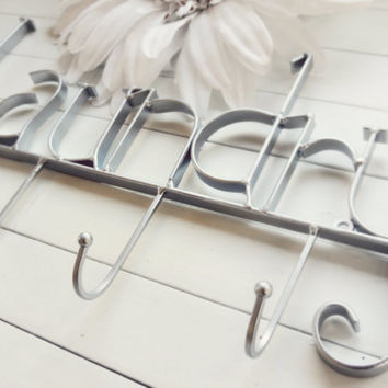 Custom Laundry Room Decor / Laundry Room Sign / Laundry Room Wall Decor / Silver Decor / Laundry Hooks / Clothes Line / Wall Hook