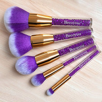 Becoyou Professional Makeup Brush Set, 5 Pieces Face Cosmetic Brushes Kit with Rhinestone Acrylic Smooth Handle for Power Foundation Eyebrow Blush Concealer, Purple