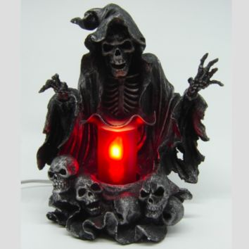 Grim Reaper Skulls Table Fragrance Aroma Lamp Oil Diffuser Wax Tart Candle Warmer Burner Home Decor