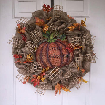 Fall Wreath, Autumn Wreath, Harvest Wreath, Thanksgiving Wreath, Fall Leaves, Autumn Leaves. Orange Wreath, Burlap Wreath, Pumpkin Wreath